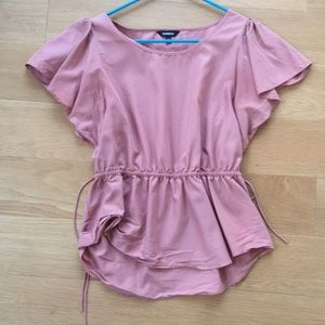 Express pink top M ruffle sleeve waist ties